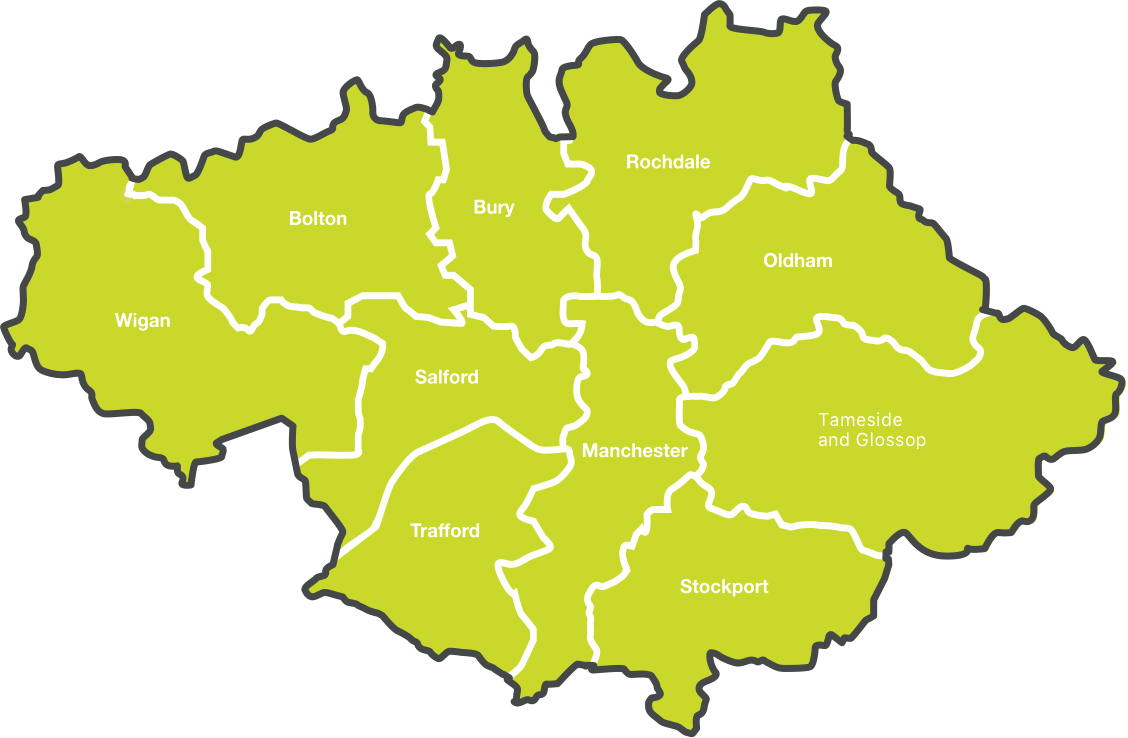 Map of Greater Manchester Boroughs