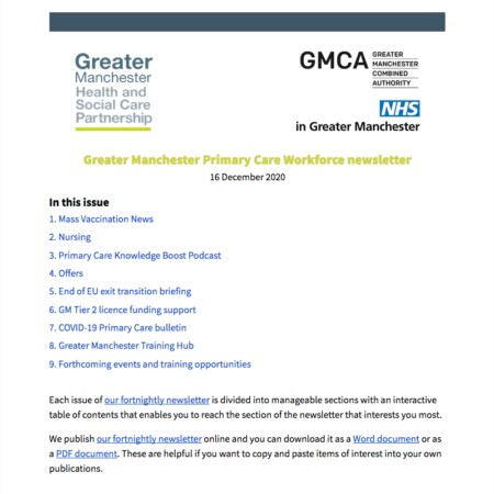 GM Primary Care Workforce newsletter 16/12/2020